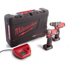 Milwaukee M12PP2A-402C Powerpack M12CPD Slagboormachine + M12CID Slagschroevendraaier 12V 4.0Ah